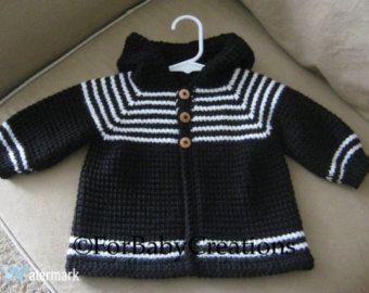 Häkeln Sie Baby Boy Pullover Mit Kapuze Schwarz Weiß