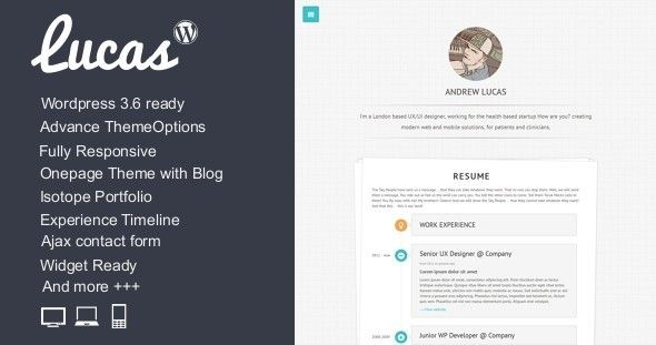 Lucas - Personal Minimalist Wordpress Blog Theme  Lucas - wordpress resume themes