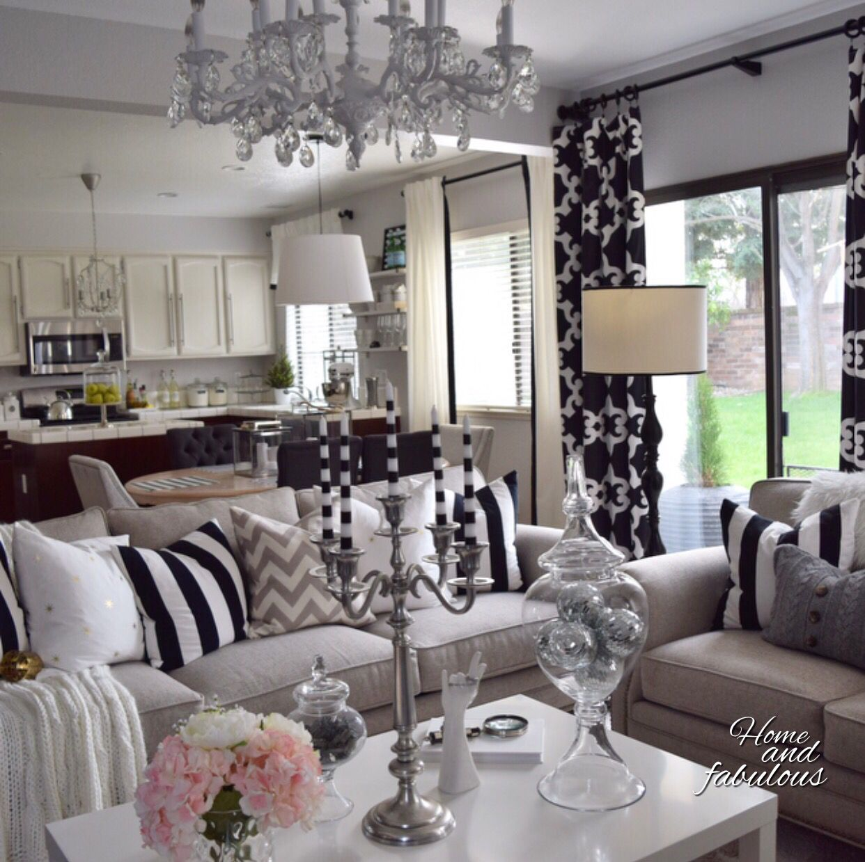 damask living room the living room looks fabulous with these apothecary jars 11614