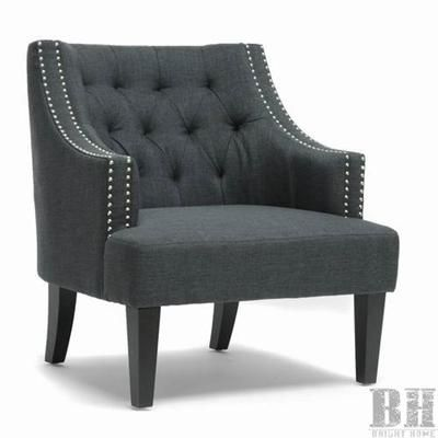 Lovely Bright Home Knowles Tufted Grey Linen Nailhead Accent Chair