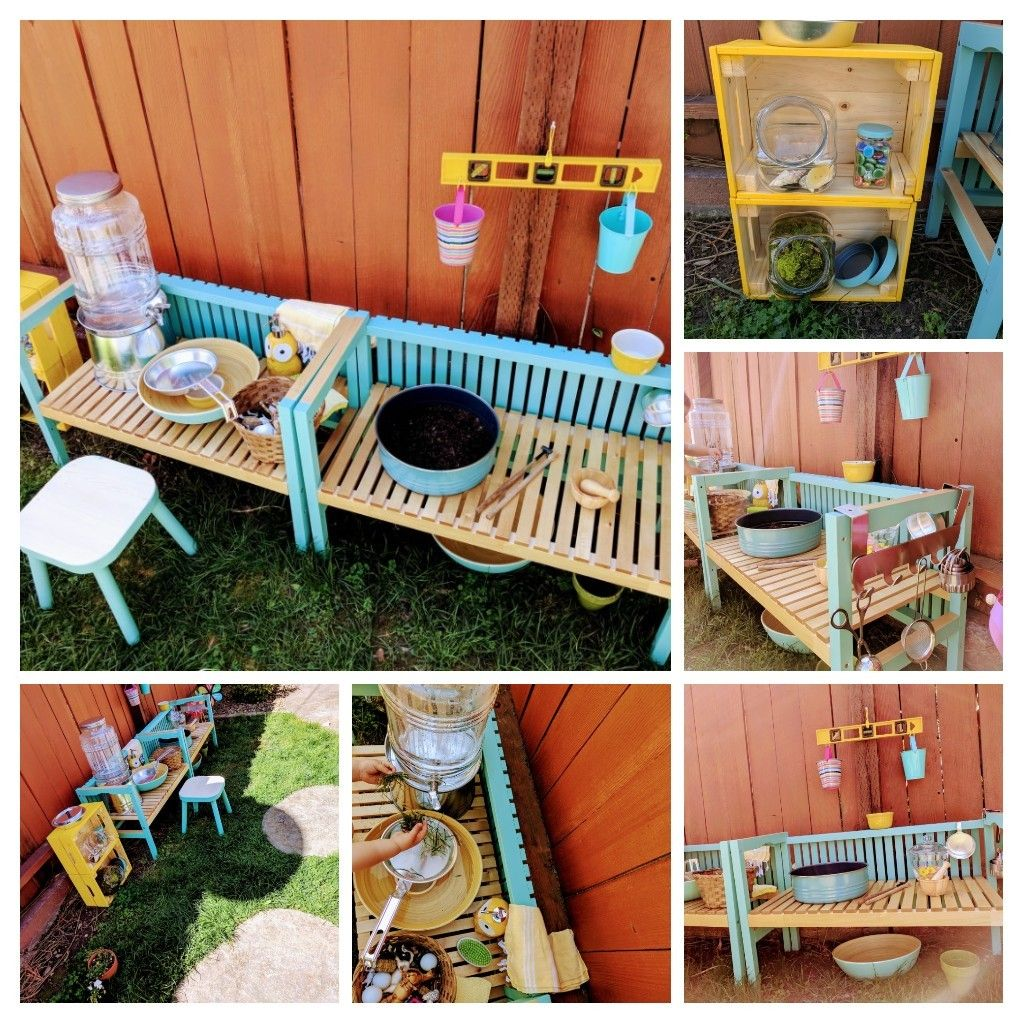 Mud Kitchen Uses Ikea Molger Bench Hacked Top Shelf Is The Back Of The Bench And Raised The Bottom Shelf 3 To Mud Kitchen Outdoor Play Spaces Ikea Bench