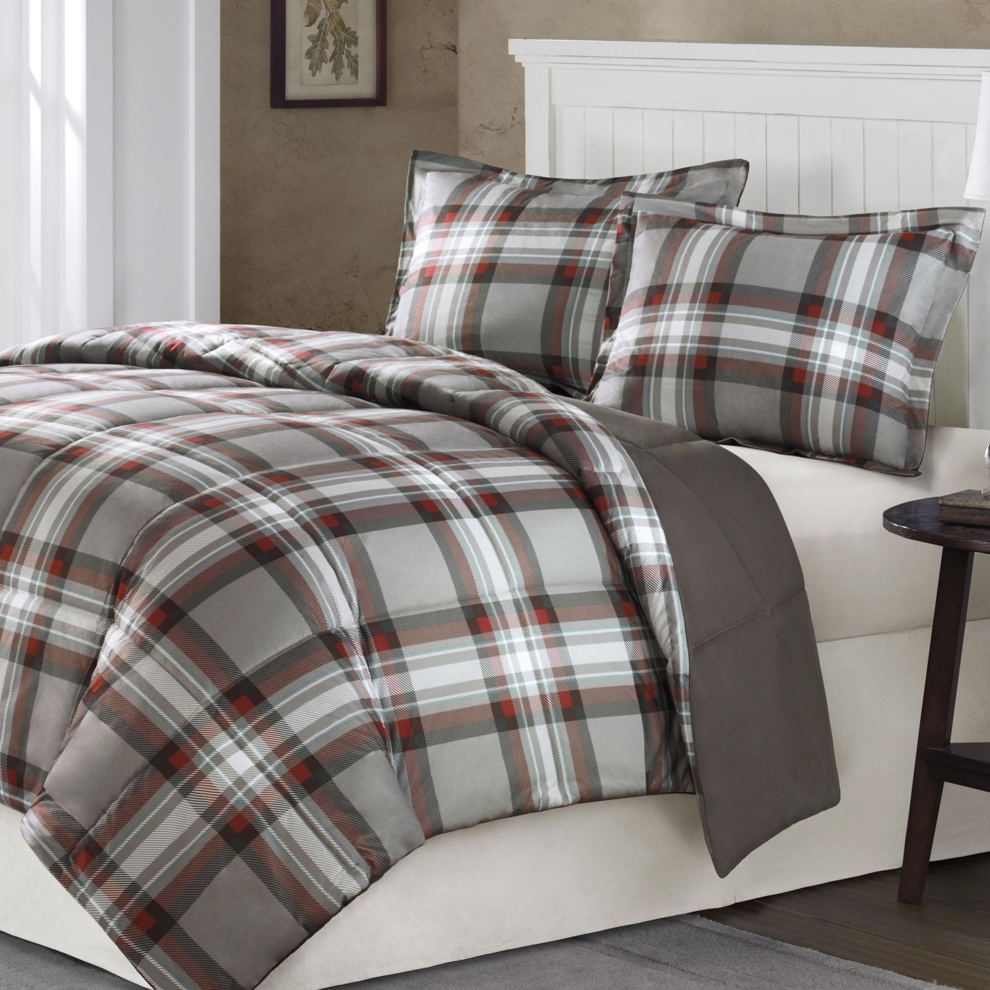 Grey Plaid Bedding Home Kirkland Plaid Mini Comforter