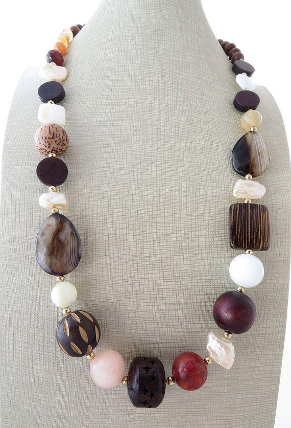 cec4c4532083 Collar grueso multi collar de piedras preciosas exótica