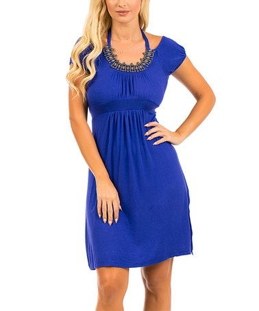 Another great find on #zulily! Royal Blue Faux Halter Empire-Waist Dress #zulilyfinds