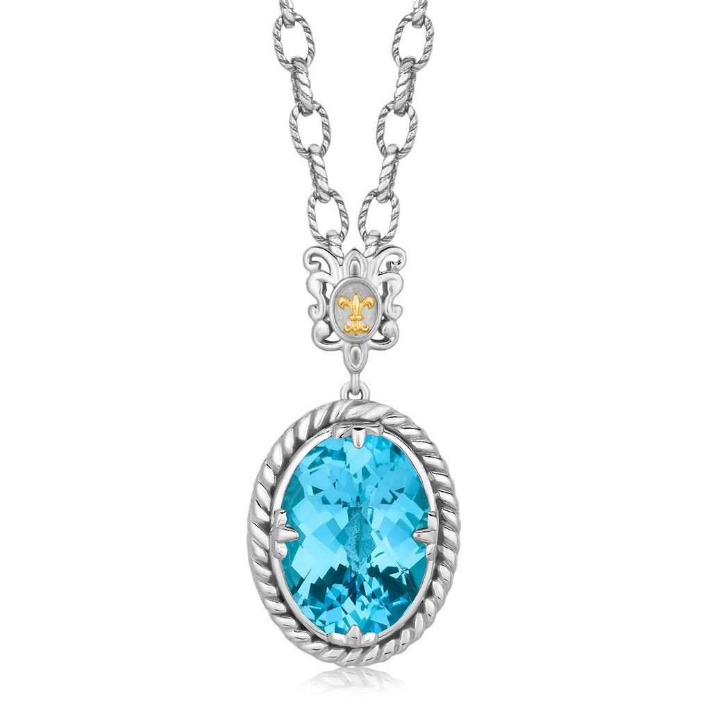 K Yellow Gold and Sterling Silver Necklace with a Blue Topaz
