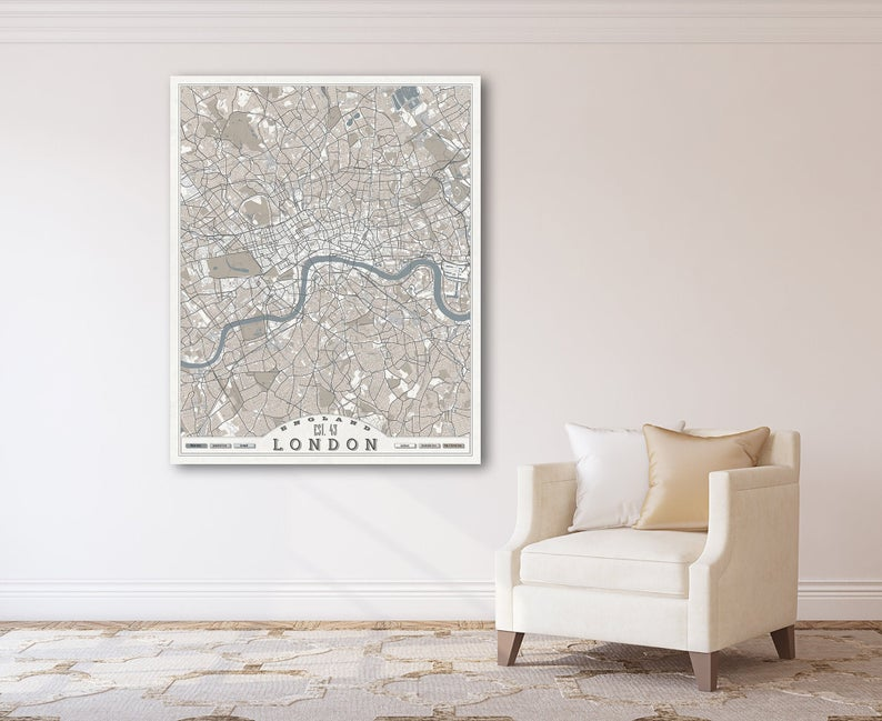 London England Canvas Map London City Street Map Pastel Light Etsy In 2020 Large Wall Art Panoramic Wall Art Horizontal Wall Art