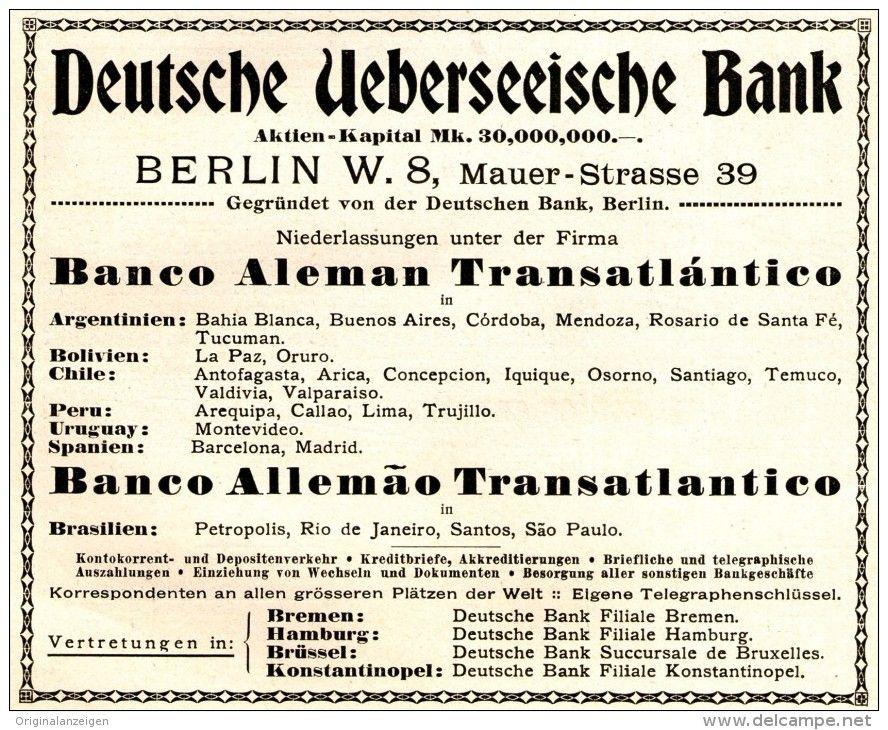 OriginalWerbung/Anzeige 1916 DEUTSCHE ÜBERSEEISCHE BANK