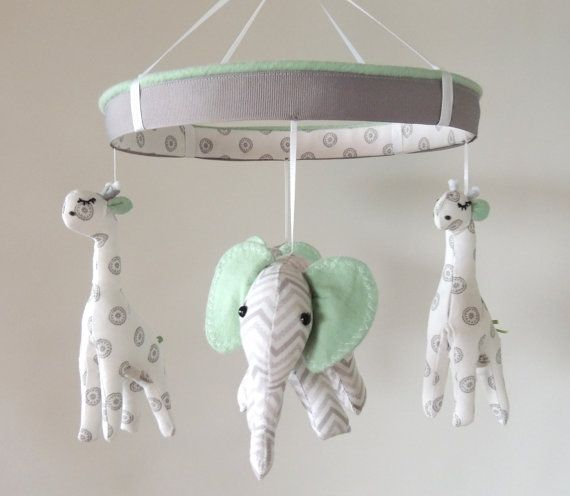 Elephant Twin Nursery Wall Art Nursery Room Decor For Twins: Ready To Ship--Baby Mobile--Giraffe Elephant Nursery