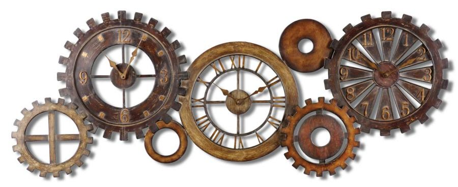 Modern Industrial Large Metal Gears Parts Wall CLOCK Metal clock