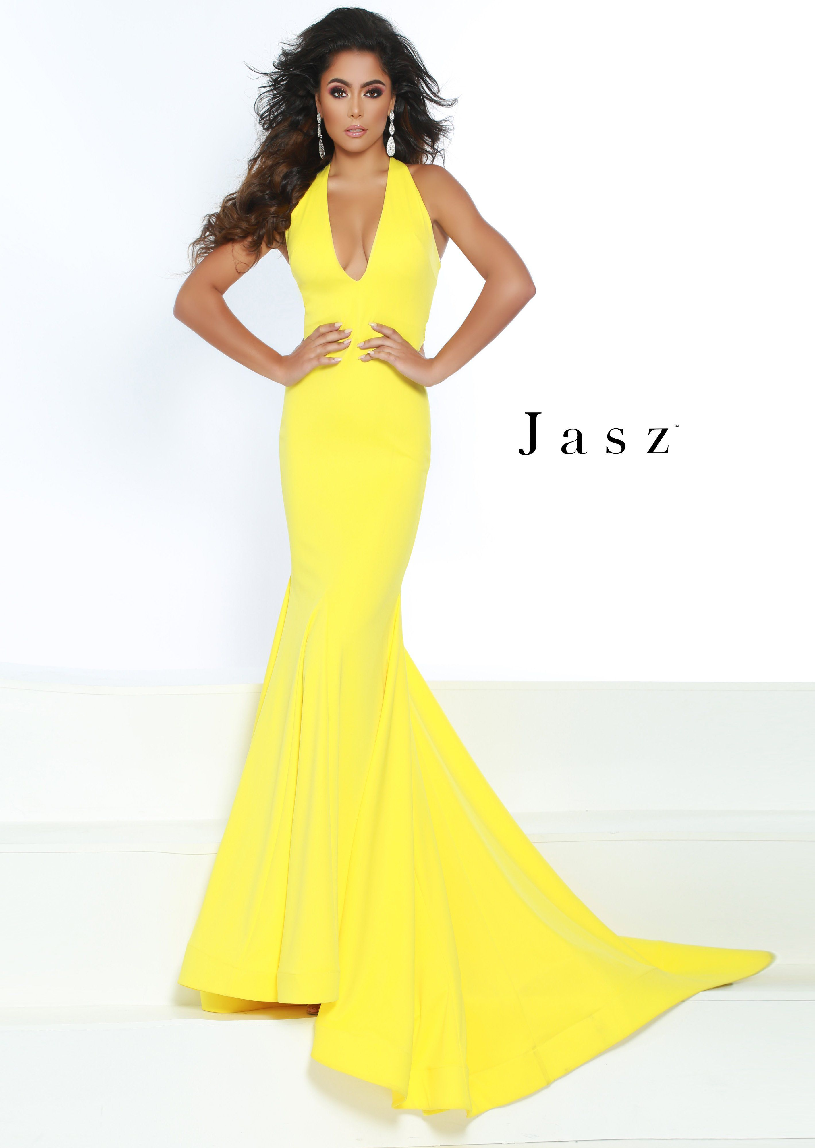 cdea3b1b80 Jasz Couture 6414 Yellow V-Neck Open-Back Fit and Flare Prom Dress ...