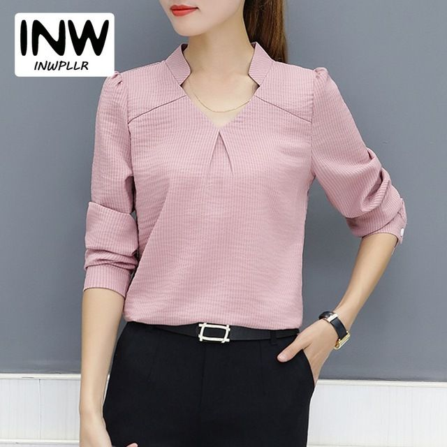 d924e9472ac651 2018 New Arrival Women Blouse Autumn Work Wear Office Shirts Femme V-neck  Long Sleeve