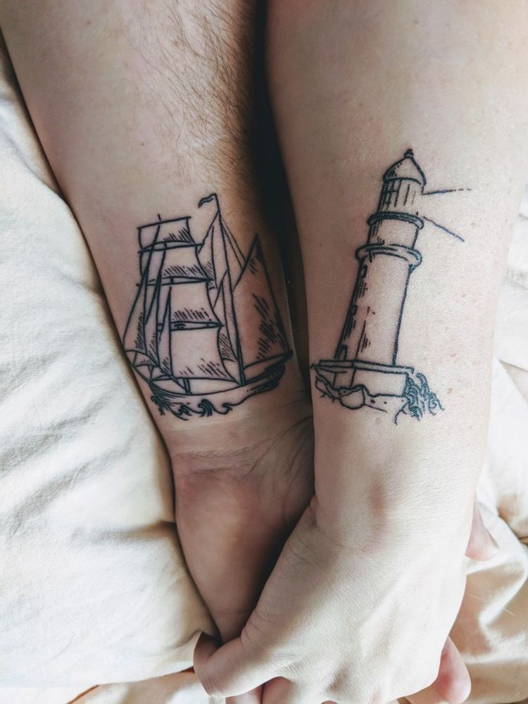 62a1897cb His and hers tattoo Sailship & lighthouse   Tattoos   Tattoos, Him ...
