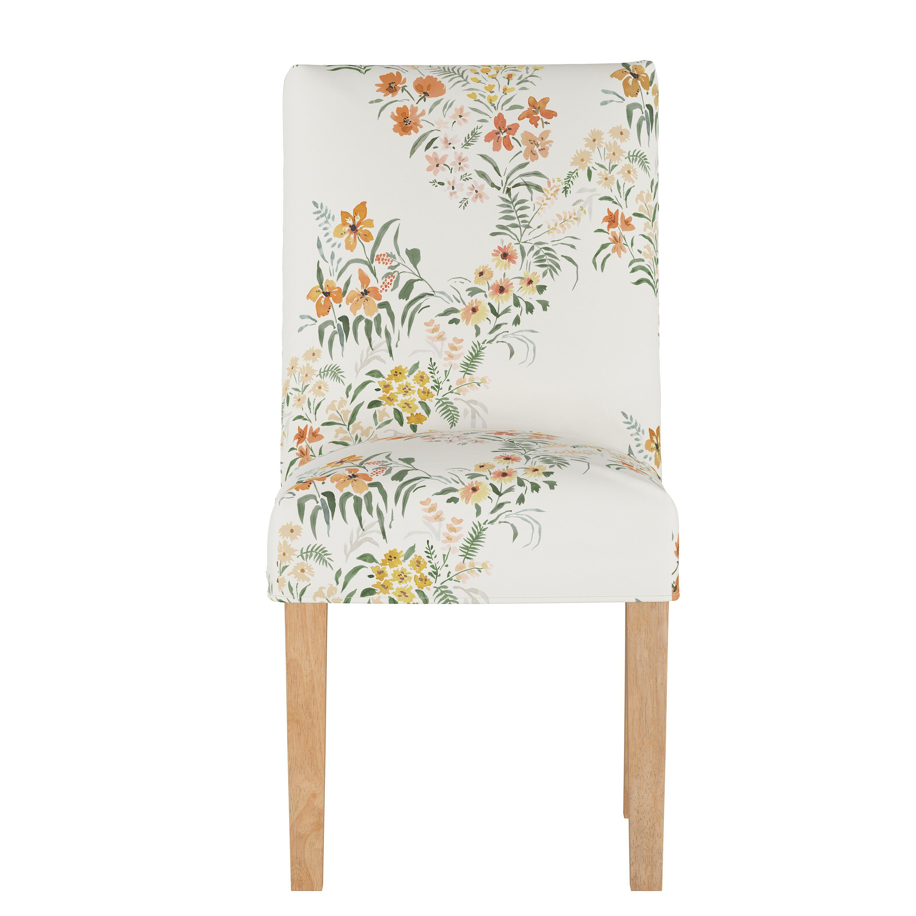 Cream Floral Slipcover Upholstered Dining Room Chair