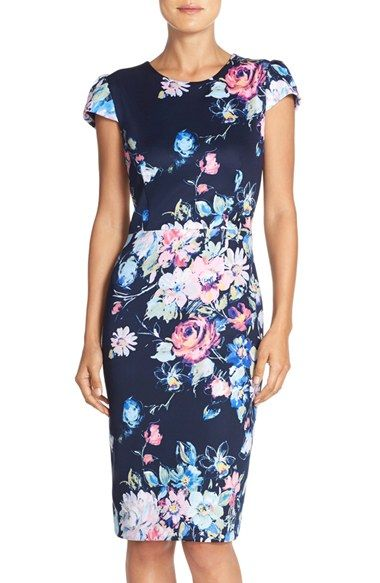 4172b708be5 Betsey Johnson Floral Print Cap Sleeve Sheath Dress available at  Nordstrom
