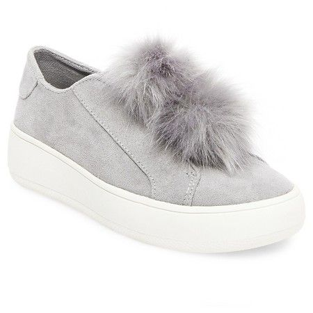5f8a73c6277c Enjoy modern style with the Women s Rosemary Faux Fur Pom Slip On Sneakers  - Mossimo Supply Co. These women s shoes slip on with a rubber sole for  support .