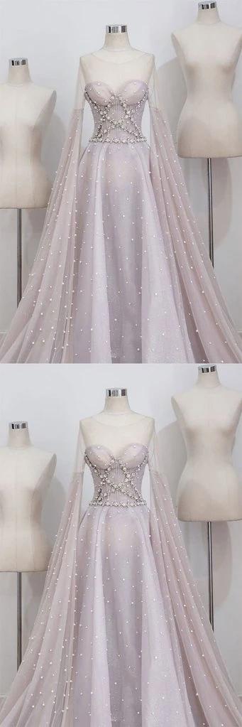 2021 Spring Long Sleeve Pearl Beaded Senior Prom Dress ...
