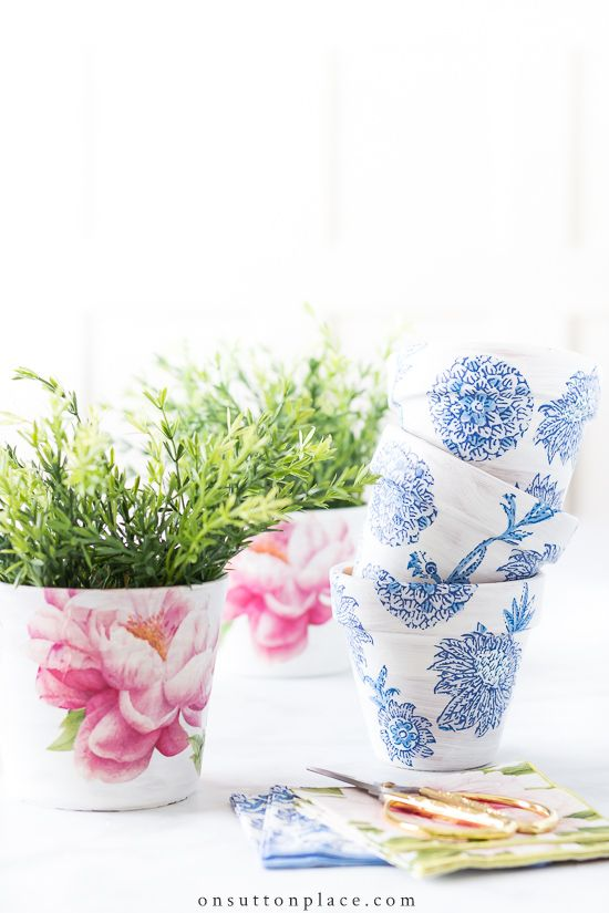 Make these fun DIY Mod Podge terra cotta pots to add to your spring decor. This post answers the questions: what is mod podge, how to use mod podge, and does mod podge dry clear? #modpodge #modpodgecraft #terracottapot #diy