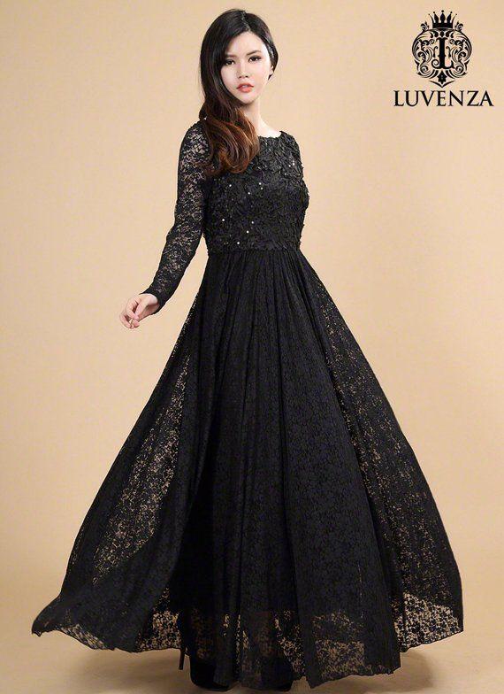 c73d07f5138 Open Back Black Lace Maxi Dress - Long Sleeve Maxi Dress - Lace Prom Dress  - Black Maxi Dress-White