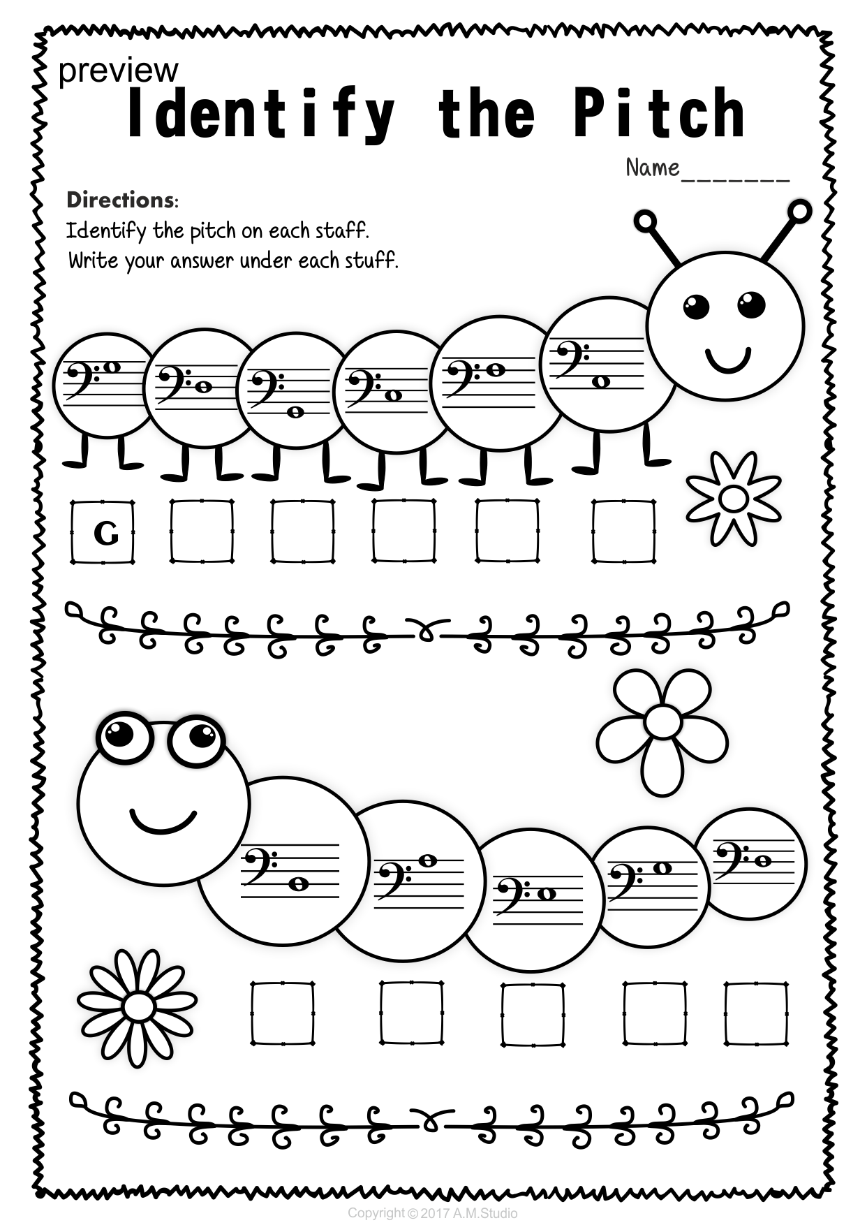 Bass Clef Note Naming Worksheets For Spring Pianos Music