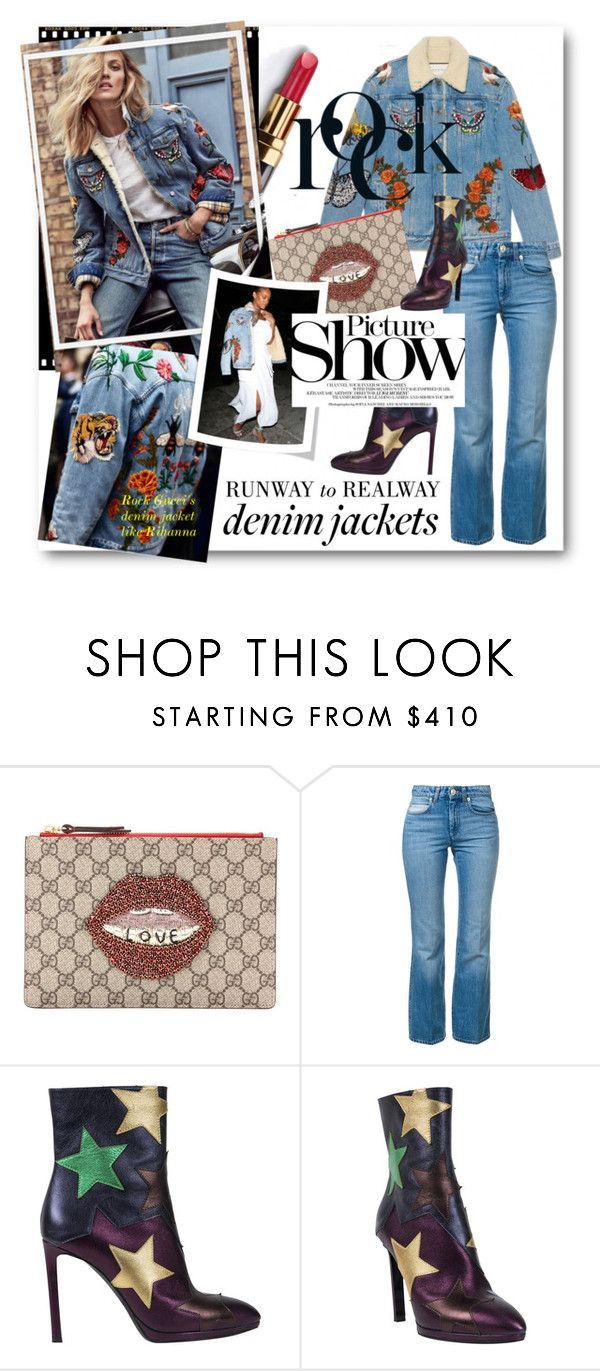"""#Jean Jacket - Rock It Like Rihanna In Gucci"" by nikkisg ❤ liked on Polyvore featuring Anja, Chanel, Gucci, Sonia Rykiel, Roberto Cavalli, SANCHEZ, Jeanjacket and Rihanna"