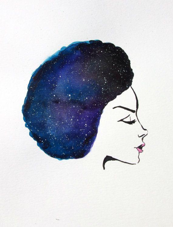 Galaxy Afro Watercolor Painting Art Print By Maalamechaart On Etsy