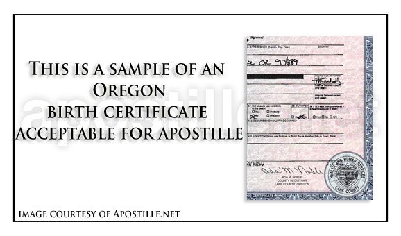 This is a sample of an Oregon birth Certificate acceptable for - birth certificate template printable