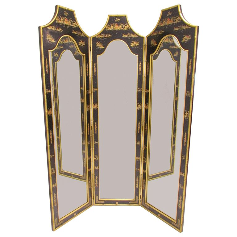 Hollywood Regency Chinoiserie Three Panel Dressing Mirror Screen ...