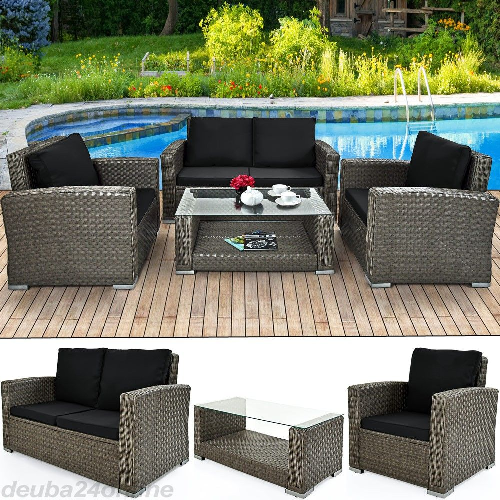 12tlg polyrattan alu sofa lounge set grau 7cm sitzauflagen garten paradies garten paradies. Black Bedroom Furniture Sets. Home Design Ideas