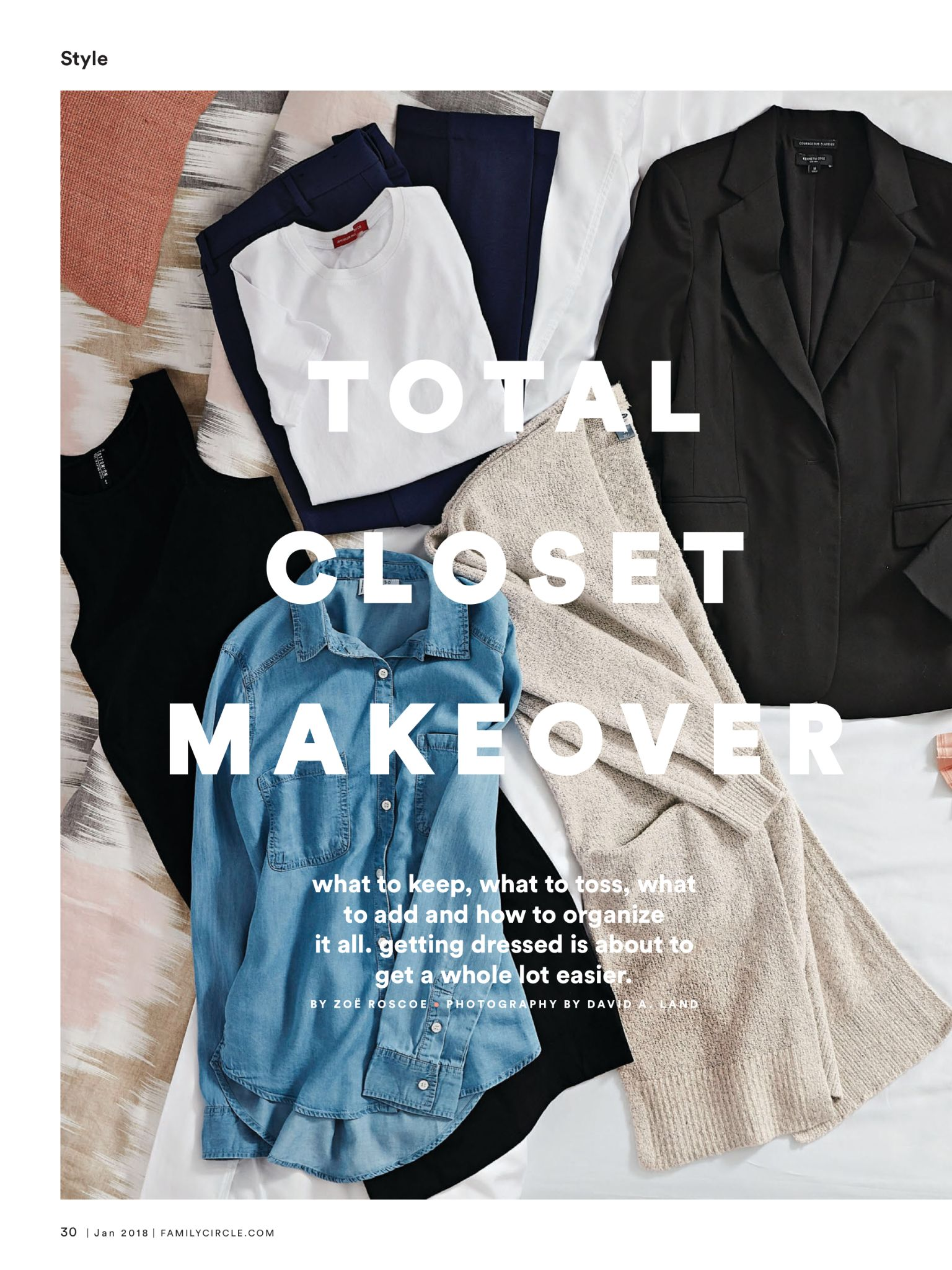"""Total Closet Makeover"" from Family Circle, January 2018. Read it on the Texture app-unlimited access to 200+ top magazines."