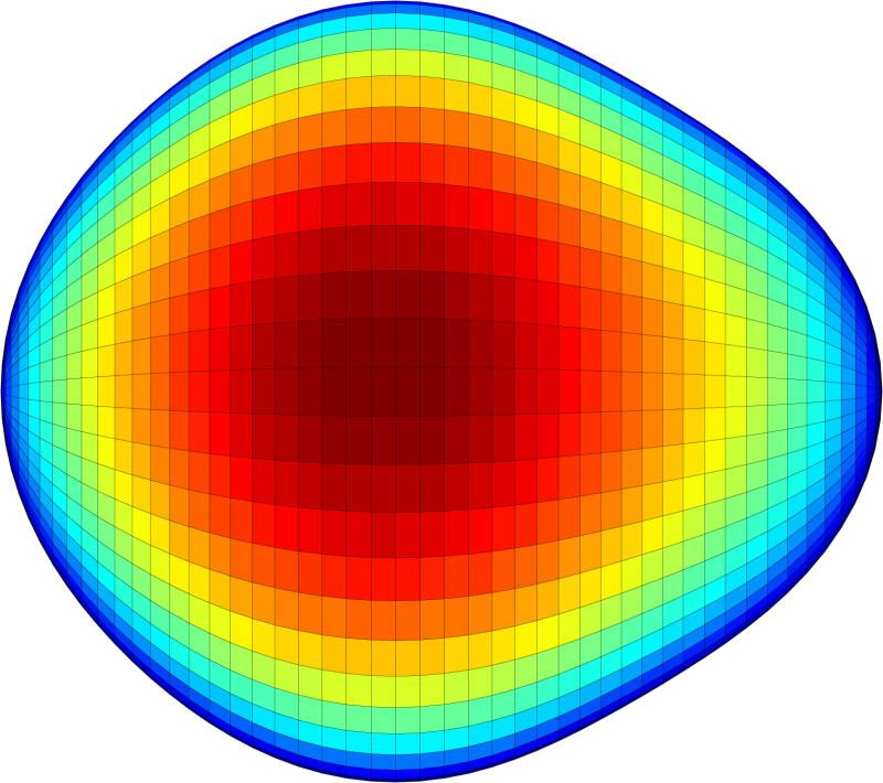 A graphical representation of the pear-shaped nucleus of an exotic atom. The shape of the nucleus could give clues to why the universe contains more matter than antimatter. (Credit: Liam Gaffney and Peter Butler, University of Liverpool)