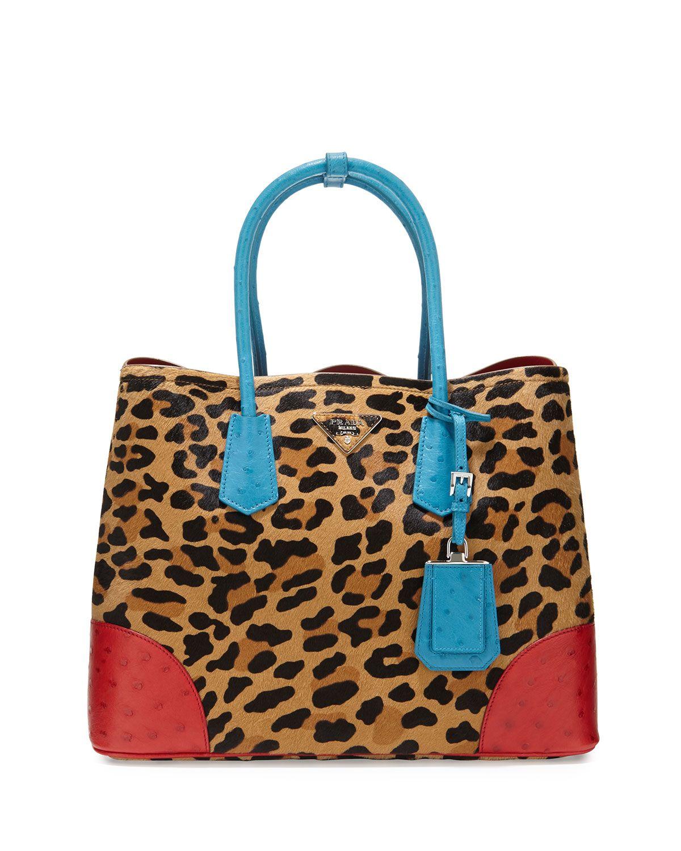 a3dd65997700 Prada Calf Hair & Ostrich Medium Double Tote Bag, Leopard/Blue/Red  (Miele+Voya), Leopard Blue Red