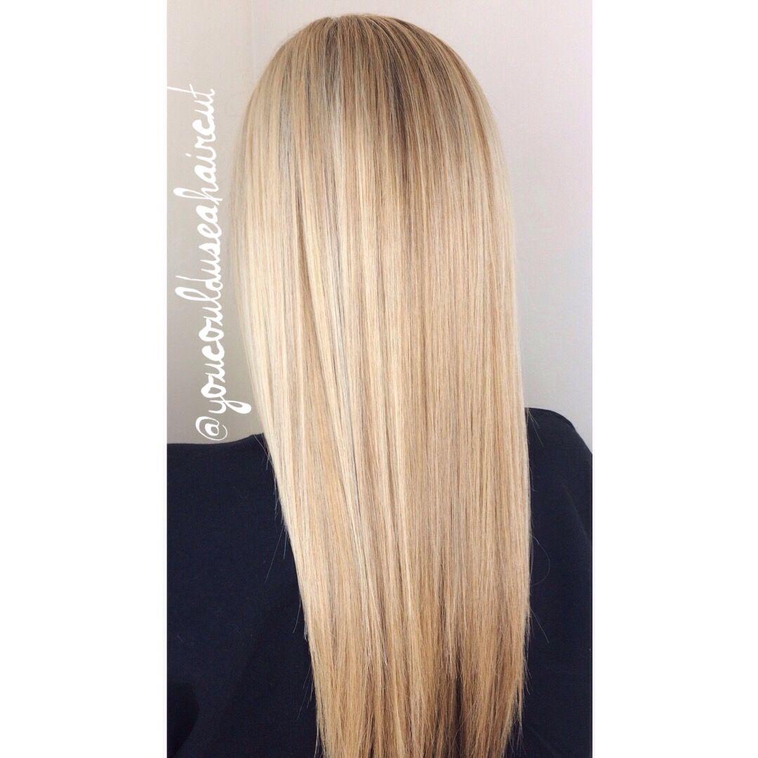 Buttery Blonde Foil Highlights In Long Hair Work Pinterest