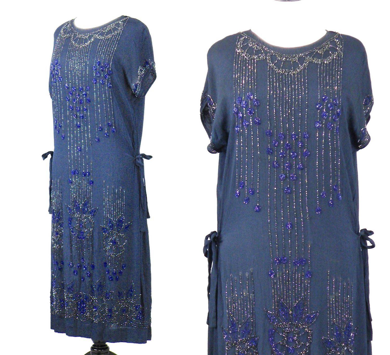 1060880c8cad3 1920 s Blue Silk Beaded Flapper Dress