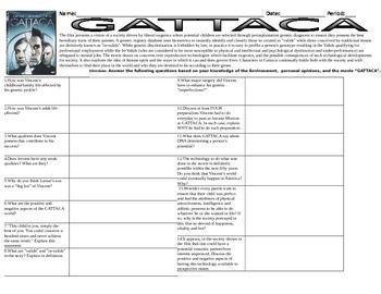 Gattaca Movie Worksheet Answers - worksheet