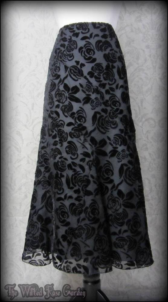 Romantic Black Rose Velvet Devore Long Skirt 12S Elegant Gothic Victorian Vtg   THE WILTED ROSE GARDEN