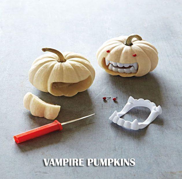 DIY V&ire Pumpkins Mini-Pumpkins Plastic V&ire Teeth and Sewing Pins. & Vampire pumpkins | Pumpkin ideas | Pinterest | DIY Halloween ...