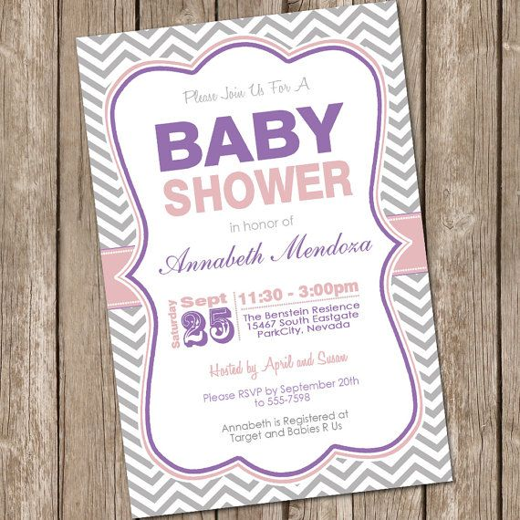 Girl Baby Shower Invitation Purple And Grey By Modernbeautiful