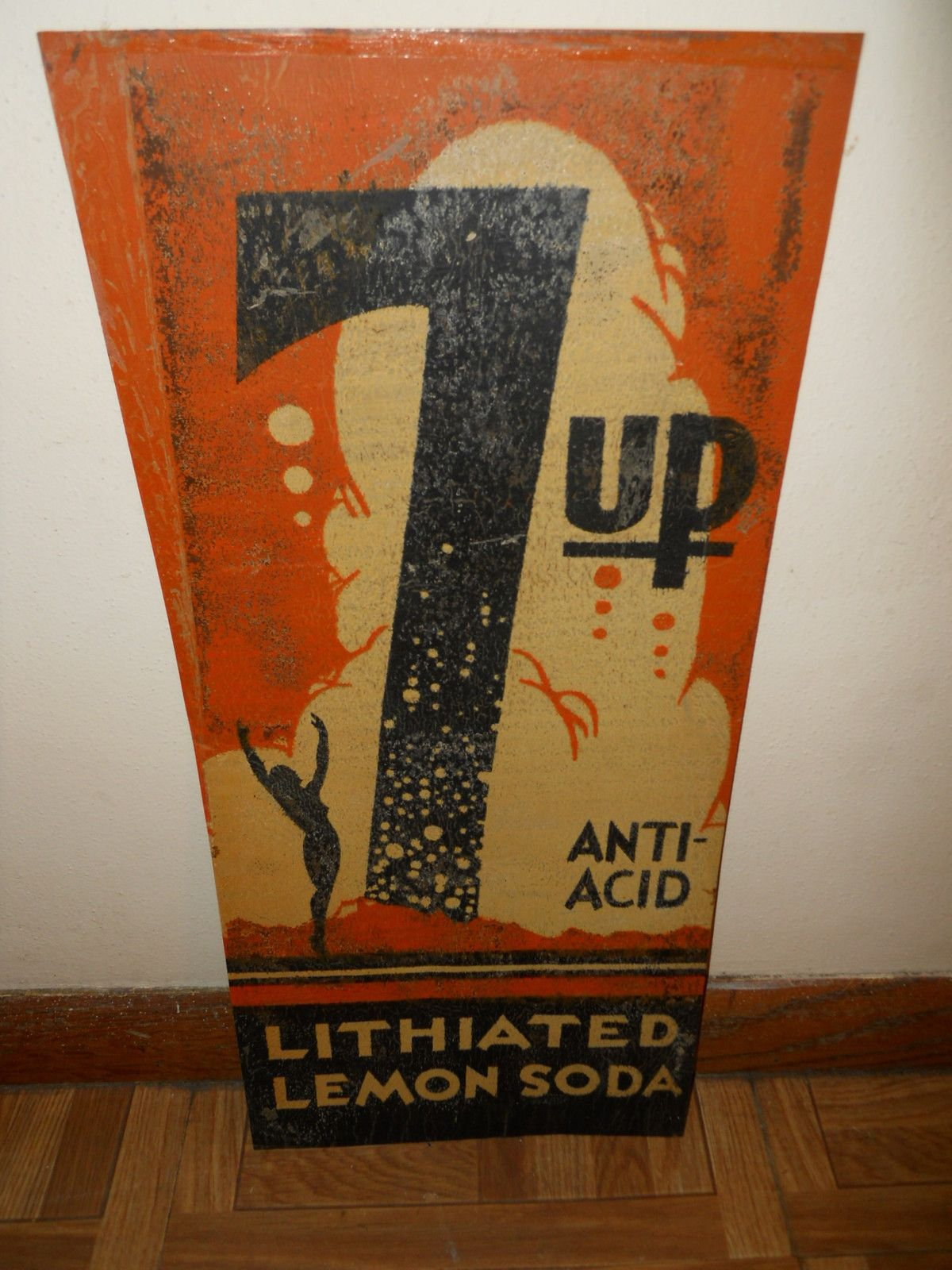 Vintage 1930s 7 Up Lithiated Soda Tin Sign With Girl 7up