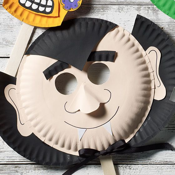 Dracula Paper Plate Mask For Halloween With Images Halloween