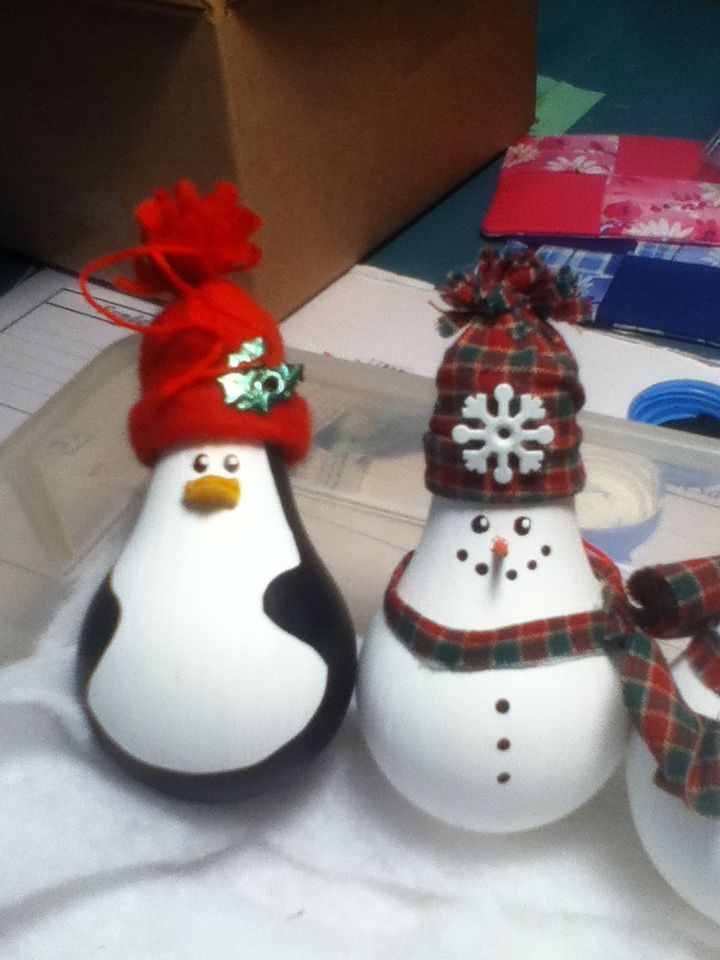Penguin and snowman lightbulb ornaments