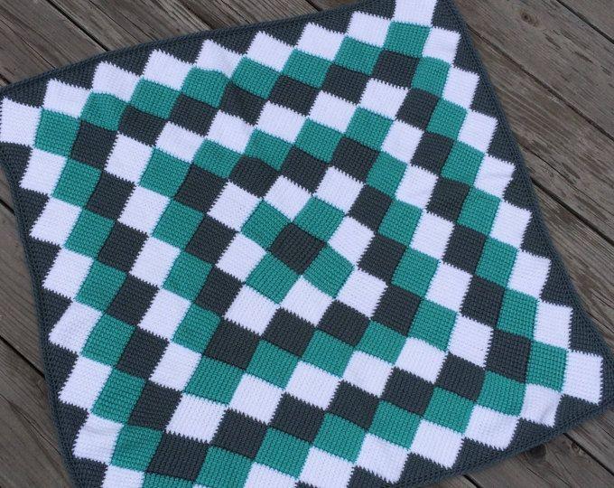 entrelac baby blanket   Crochet   Pinterest   Tunisian crochet ...