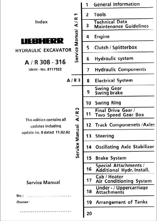Liebherr A308 A310 A312 A316 R308 R310 R312 Excavator Service Manual In 2020 Excavator Hydraulic Systems Hydraulic Excavator