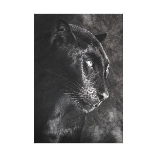 Black Panther Charcoal Canvas Print