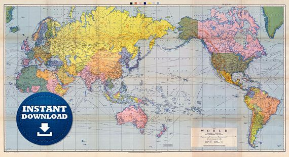 Digital Old Political World Map 1944 - Instant Download ...
