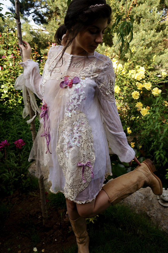 Tunic woman lace shabby chic style