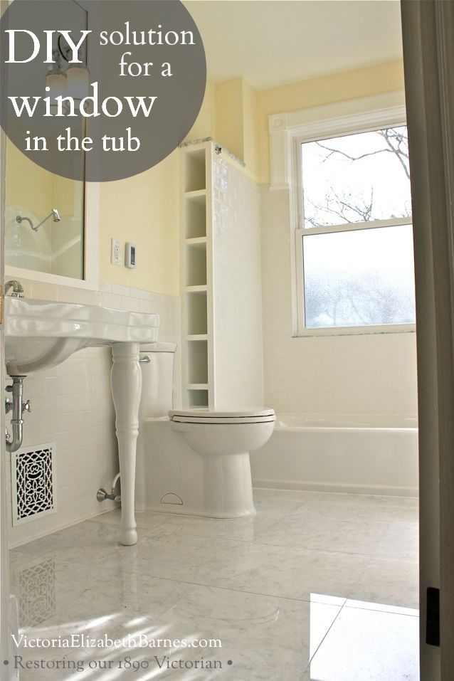 Solution To The Large Window IN The Shower Simple DIY Cover - Old home bathroom remodel