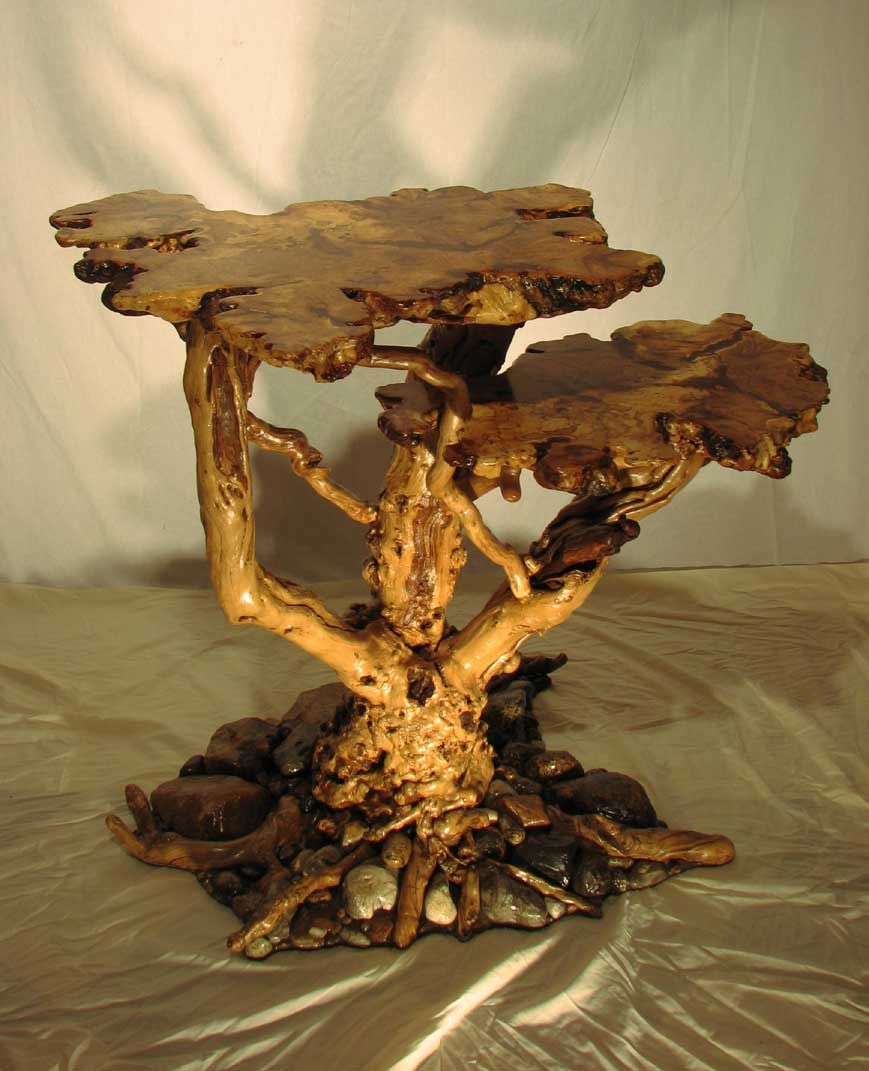 Oak Tree Root Coffee Table: Spalted Maple Burl Table