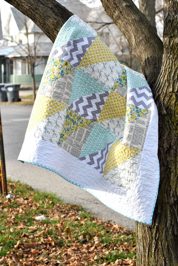 Modern Baby Quilt for Boy or Girl: Aqua, Yellow and Gray Triangles.