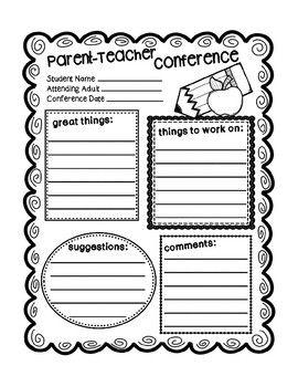 Parent Teacher Conference Form {Texas Twist Scribbles