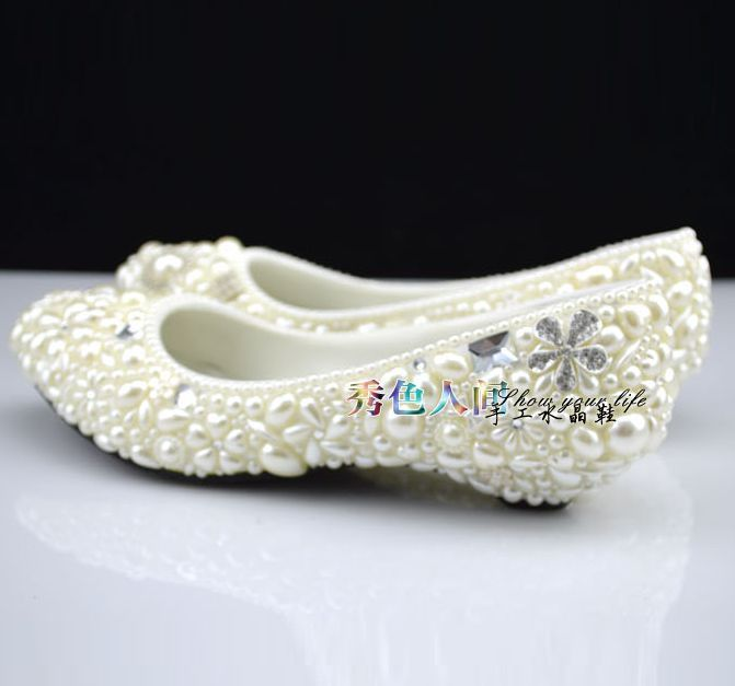 2cm Wedges Small Low Heel Wedding Shoes For Woman Big Plus Sizes Brand  Design Womenu0027s Ivory